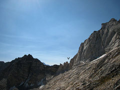 Rock Climbing Photo: Notch where we gained the ridge on attempt 1 (easi...
