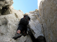 Rock Climbing Photo: Starting up the (not recommended) chimney (photo b...