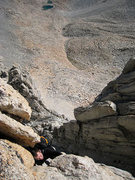 Rock Climbing Photo: Scary slab moves on knobs (one of which broke off ...
