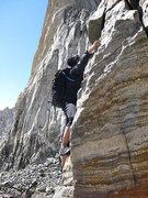 Rock Climbing Photo: Gaining the ridge just before we bailed.