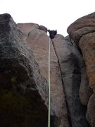Rock Climbing Photo: Finishing the first pitch crack.
