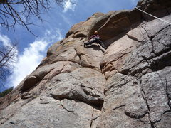 Rock Climbing Photo: Moving below the roof.