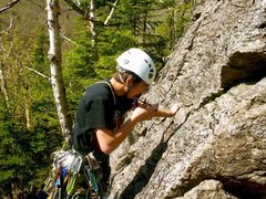 Rock Climbing Photo: standard Route) placing the first peace of Pro