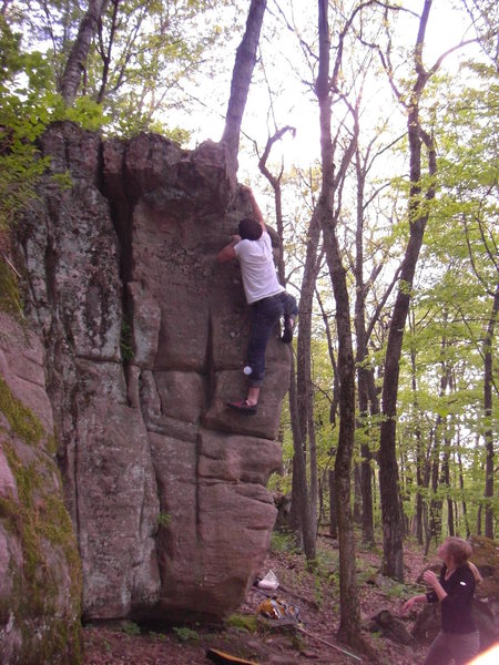 Rock Climbing Photo: Fuzzy nearing the top.