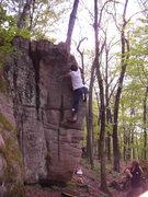 Rock Climbing Photo: Fuzzy nearing the top.