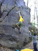 Rock Climbing Photo: Jake getting up on Slope of Dadaism.