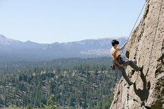 Rock Climbing Photo: Joan Bertini rapping Area 13