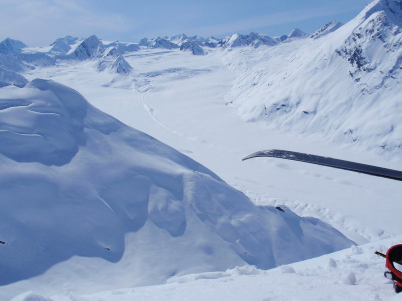 Chugach Range, Alaska. Use the zoom function (left mouse click) to locate the skiers to the left of the ski tip.<br>