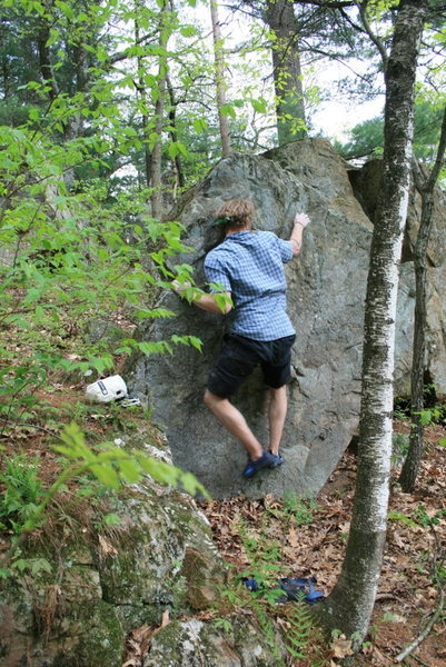 Standing up on the start hold with right hand on sloper. The crux, in my opinion.