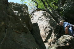 Rock Climbing Photo: Sizing up A Red Recollection. A good view of Faren...