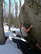 Rock Climbing Photo: Todd Helgeson in the crux of The driven Snow.