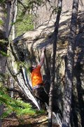 Rock Climbing Photo: Tom Scupp sticking the crux lunge on Finger on the...