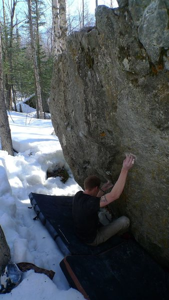 Rock Climbing Photo: Checking the foot beta of The Driven Snow.