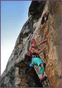 Rock Climbing Photo: Erica Binger picking her way up L' Orangerie. Thin...
