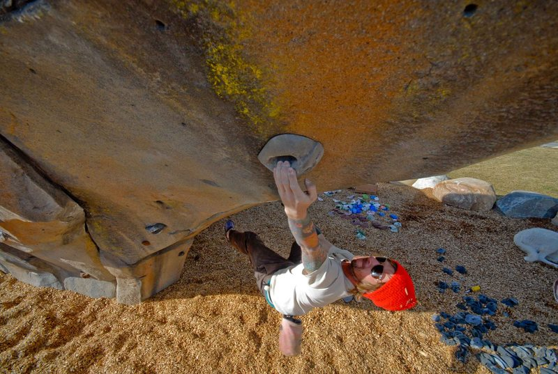 New V3-V4 on the belly of the beast, Park Boulder.