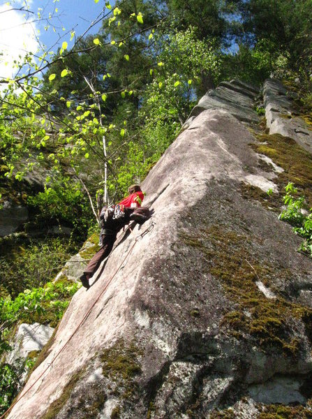 Rock Climbing Photo: DB leading Beautiful Arete. Photo by Trina de Mony...