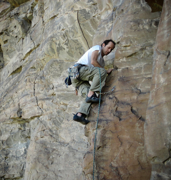 Rock Climbing Photo: Robin working his way up Left Wing's opening rib.