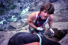 Rock Climbing Photo: Frosty sorting gear on Astro Dog.  9/88.