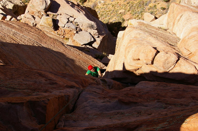 Final pitch after the crux