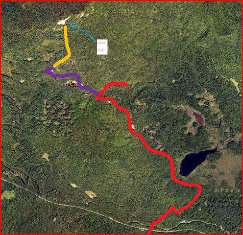 The red is the west end of the Rob Brook road. The purple is the left hand logging road. You can ride a bike on the red and purple (very easy). Bush wack the yellow to the West Slabs. Have Fun.