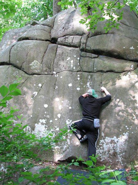 Rock Climbing Photo: Ryan Salkeld crimping the puzzling start of Homefr...