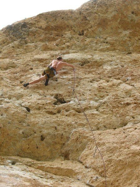 Moving through the center part of Majestic. Great, steep climbing.<br> Photo by J. Dias