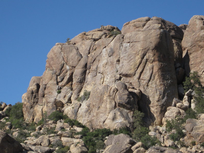 Left side of Upper Walt's Rocks.  White Rain goes up the shady face on the right.