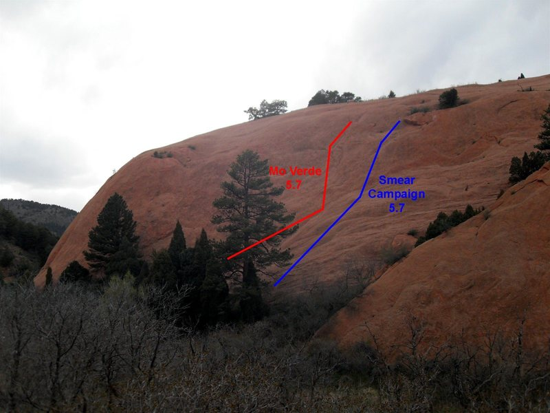 """Wiggins' Wall from the main trail.  Approximate routes of """"Smear Campaign"""" and """"Mo Verde"""" shown."""