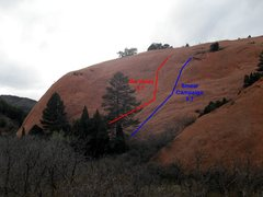 Rock Climbing Photo: Wiggins' Wall from the main trail.  Approximate ro...