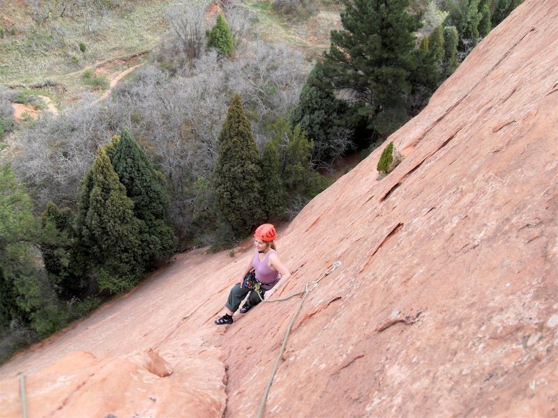 Rock Climbing Photo: Brenda rests near last bolt on Mo Verde.