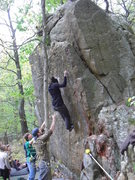 Rock Climbing Photo: Holding the small crimps up high, she came so clos...