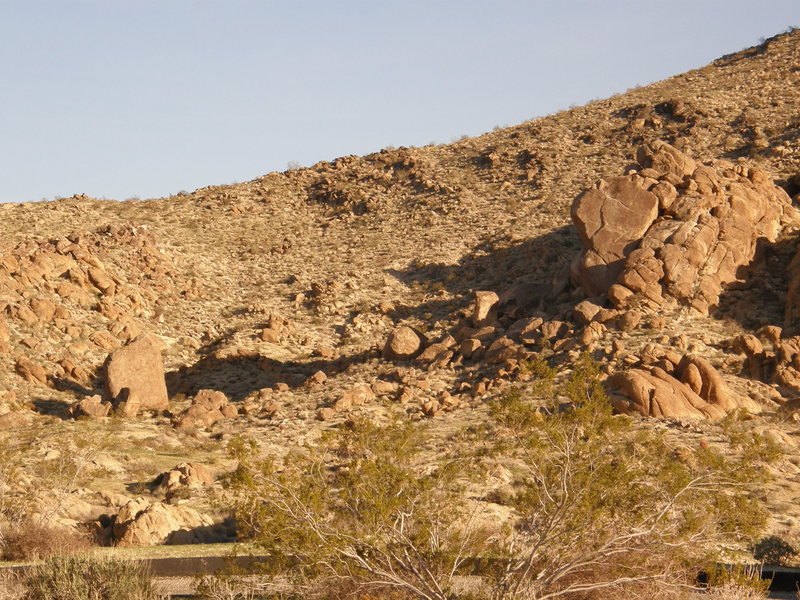 P. L. is the formation on the right in this picture, and is easily seen from the parking lot.