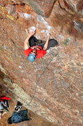 Rock Climbing Photo: The upper part of the route is quite sustained for...
