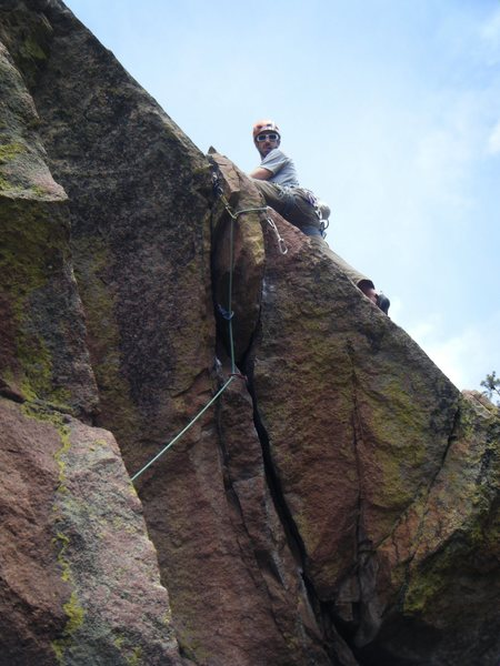 Matt above the crux after a good onsight.