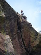 Rock Climbing Photo: Matt above the crux after a good onsight.