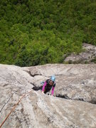 Rock Climbing Photo: Mary finishing up P5 of Groover