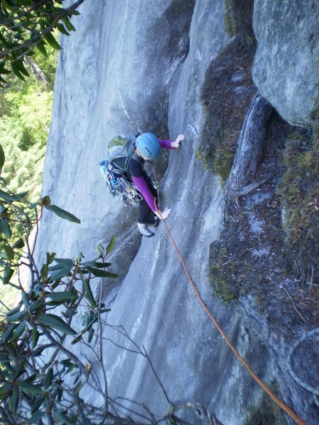 Rock Climbing Photo: Mary finishing P1 of Groover