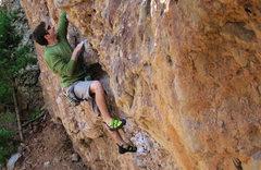 Rock Climbing Photo: Brian, crushing the starting moves on  Jug-or-Naut