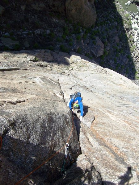 Rock Climbing Photo: Bert is following the sustained 5.10 pitch before ...