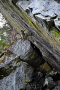 Rock Climbing Photo: Brock Tilling just past the crux of Free Will, 5.1...