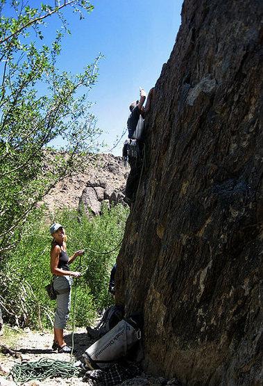 Sonya belaying Locker on the sharp end.<br> Photo by Blitzo.