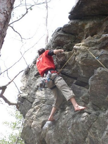 Rock Climbing Photo: Traversing to the correct anchors.  (don't worry i...