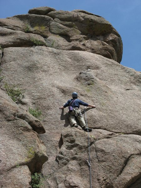 Rock Climbing Photo: Greg scoping the crux up top.