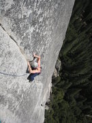 Rock Climbing Photo: Tom inspects the crack for signs of serenity as he...