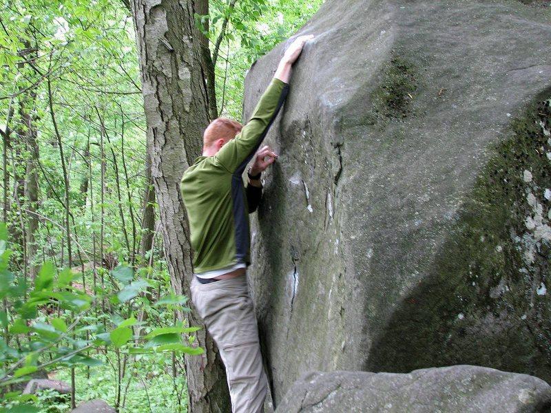 Greg Sudlow reaching the sloper on Help Meat (V4). Photo by Ryan Salkeld.