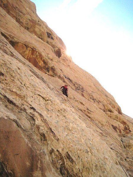 Lance on the first pitch .Note the corner crack above the climber