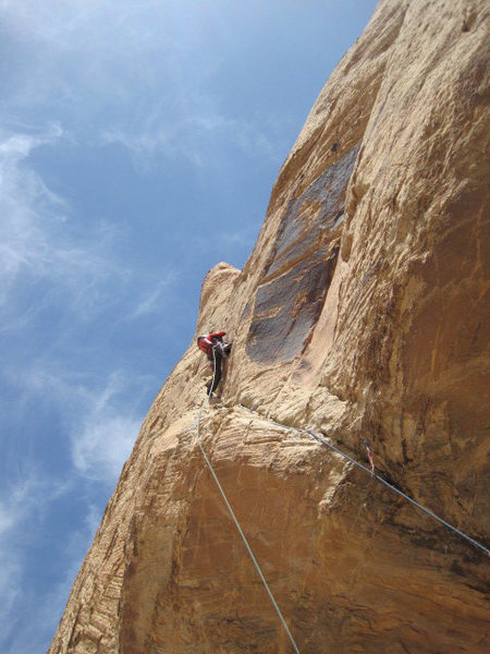 Rock Climbing Photo: Lance in the shallow groove above the two aid move...