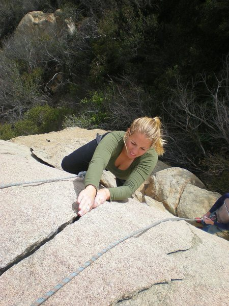 Lauren styling the splitter crack on the main Grand Central Station boulder.
