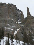 Rock Climbing Photo: The Solar Wall on Otis Peak with the route Adaptiv...