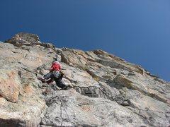 Rock Climbing Photo: Chris Sheridan starting up the first headwall pitc...